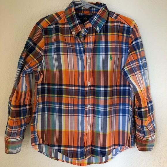 eef5600e Boys plaid long sleeve Polo Button Up 5 / xs